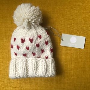 Tiny hearts baby girl pom hat/beanie 3-12 months